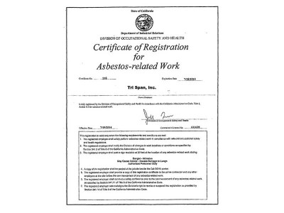 Certificate of Registration for Asbestos-related Work